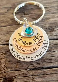 Personalized Stamped Great Grandma Keychain Pregnancy Announcement For First Time Grandparent New Gift Mothers Day
