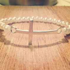 Pearl Sideways Cross Bracelet Jewelry Ideas, Jewelry Box, Jewlery, Jewelry Bracelets, Jewelry Making, Bangles, Unique Jewelry, Sideways Cross, Helpful Tips