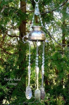 How to Make a Sweet Sounding Silver Sugar Bowl Wind Chime - - This repurposed silver creamer wind chime sounds lovely with the silverware tinkling in the breeze. Make Wind Chimes, Wind Chimes Sound, Carillons Diy, Silverware Art, Silver Teapot, Silver Plate, Sugar Bowl, Stained Glass Art, Dose