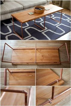 20 Easy & Free Plans To Build A Diy Coffee Table - Diy Crafts 20 Easy & Free Plans to Build a DIY Coffee Table - DIY Crafts easy diy coffee table - Easy Diy Crafts Table Diy, Table Cafe, Diy Coffee Table Plans, Decorating Coffee Tables, Coffee Ideas, Copper Diy, Copper Coffee Table, Simple Coffee Table, Creation Deco