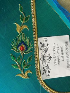 Hand Work Blouse Design, Simple Blouse Designs, Bridal Blouse Designs, Peacock Embroidery Designs, Embroidery Suits Design, Embroidered Quilts, Embroidered Blouse, Embroidery Motifs, Machine Embroidery