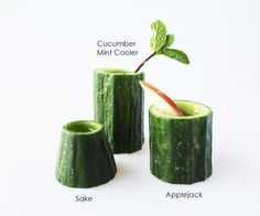 Cocktails in edible cucumber cups. Mmm...