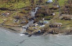 A remote Fijian village is photographed from the air during a surveillance flight conducted by the New Zealand Defence Force following Cyclone Winston