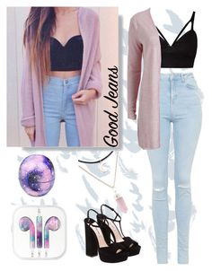 """We Love High-Waisted Jeans"" by aidabae ❤ liked on Polyvore featuring Eos, Topshop, VILA, Miu Miu and highwaistedjeans"