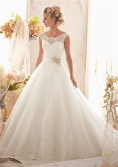 Ball Gown Cap Sleeve Illusion Back Tulle Lace Wedding Dress With Crystal Sash