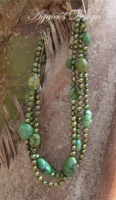 Freshwater Pearls -                                                      Green Turquoise Freshwater Pearls Silver Necklace