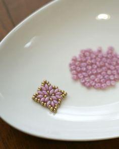 Motif made with Czech Superduo Beads