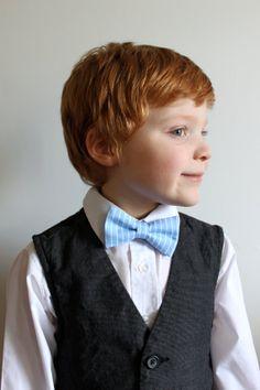 Kids Bowtie - Blue Stripe - Size 1-12
