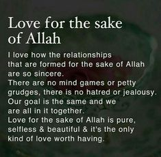 Love for the sake of Allah s.w.t.