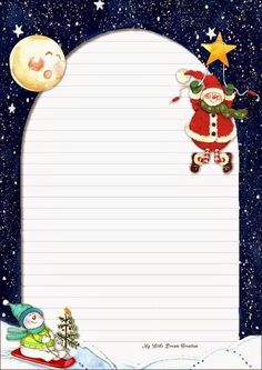 Carta a Santa Claus Christmas Frames, Christmas Icons, Winter Christmas, Christmas Cards, Stationary Printable, True Meaning Of Christmas, Christmas Stationery, Theme Noel, Note Paper