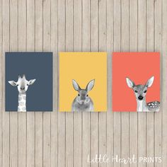 Modern Animal Nursery Prints Gender Neutral Set of Three