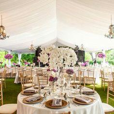 Pink, purple, white, gold. Outdoor wedding.