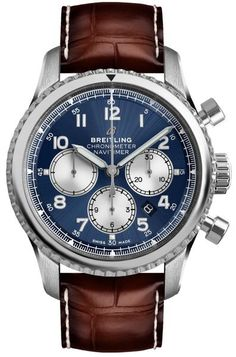 Breitling Navitimer 8 Chronograph Watch for Men Blue Dial Chronograph Automatic Watch on Sale - Stainless Steel with Brown Leather Strap - Best Price on Breitling Watches Breitling Navitimer, Breitling Superocean Heritage, Men's Watches, Breitling Watches, Sport Watches, Cool Watches, Watches For Men, Fashion Watches, Breitling Chronograph