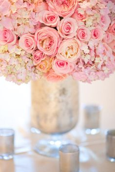 Hydrangeas and pink roses
