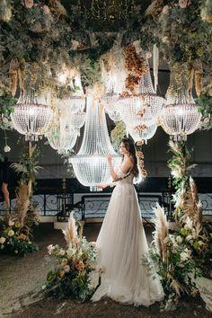 Reception Design, Reception Party, Reception Decorations, Chandelier Wedding Decor, Wedding Lighting, Wedding Bouquets, Wedding Flowers, Wedding Bells, Champagne Color Dress