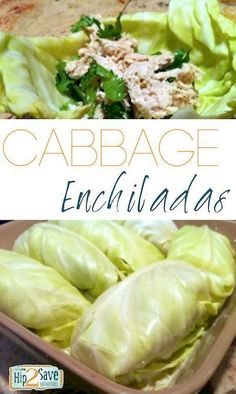 Cabbage Enchiladas and Tacos~Tip use Greek yogurt in place of sour cream~1 head of cabbage Shredded Chicken (I used leftovers from a rotisserie chicken we had) 1 cup chicken broth 1 cup sour cream 2 (4 ounce) cans of chopped green chiles Fresh cilantro Salt & pepper (to taste) shredded cheese (optional)