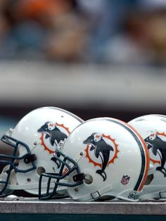 MIAMI DOLPHINS OLD FOOTBALL HELMETS