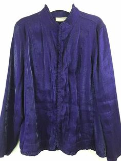 Chicos 2 Purple Shimmer Jacket Ruffle Trim Hook Closure Shiny Rayon Blend M L #Chicos #BasicJacket #Casual