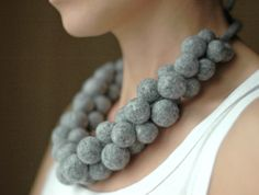 Bold chunky felt necklace -  felt jewelry - felted women spring accessories