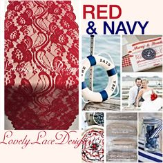 NAUTICAL WEDDINGS!! Red & Navy Lace Table Runner!