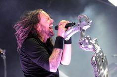 Korn's Jonathan Davis unleashes onstage during the Rockstar Mayhem Festival on July 30 in Wantagh, N.Y.
