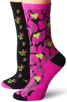 Betsey Johnson Women's Two-Pair Pack Classic Crew Socks In Gift Box - Listing price: $20.00 Now: $12.99