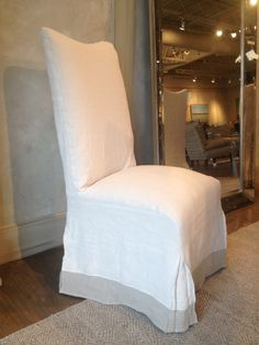 Linen Slipcovered Dining Chair With Banding Detail   $925 (so Glad I Have A  Great
