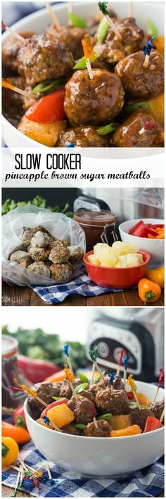 These Pineapple Brown Sugar Meatballs are smothered in a homemade BBQ sauce and cook in the slow cooker, making them an easy game day appetizer, weeknight meal, or holiday potluck offering!