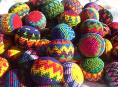 Hacky sacks with instructions for people who don't know what they're for