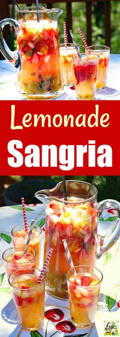 Serve up a pitcher of Lemonade Sangria mocktails at your next party. This non-alcoholic sangria is a better-for-you alternative to beer or wine. Its a mock sangria recipe thats a combination of fruit lemonade and limeade juices and sparkling apple juice. Non Alcoholic Drinks Sangria, Thanksgiving Drinks Non Alcoholic, Sangria Recipes, Drinks Alcohol Recipes, Punch Recipes, Yummy Drinks, Drink Recipes Nonalcoholic, Apple Juice, Party