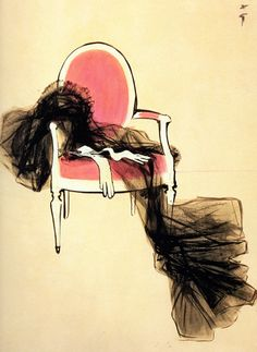 René Gruau was an italian illustrator that collaborated with Dior, Givenchy, Lanvin, and several important magazines, that revolutionized not only the fashion industry but also the art world with his extremely elegant and pure work.