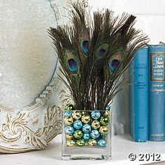Pretty Peacock Feathers centerpiece
