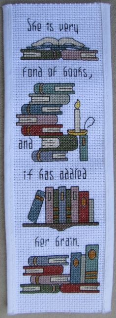 This bookmark was created around my sisters favorite saying. My family loves to read, and this bookmark features LOTS of books! Can you ever have too many?!  This bookmark was stitched on 14-count Aida cloth, then finished into a bookmark. You can stitch the design to be framed, should you choose.  This is for the pattern only; no supplies are included. The pattern includes a cover sheet, instructions, pattern with stitches, and a legend with the stitches and symbols.