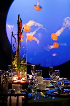 Event in an aquarium -- we were in the NC Aquarium last month and I mentioned what a cool place it would be for a wedding reception or something. I'd be there!