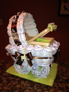 Diaper Carriage  Unique Baby Shower Gift by JocelynsCreations, $55.00