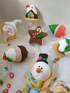 Xmas, Christmas Ornaments, Christmas Cakes, Pasta Flexible, Miniature Houses, Handmade Polymer Clay, Marshmallow, Biscuits, Kawaii