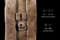 "Resonance at Göbekli Tepe, Turkey The largest standing megalith at Göbekli Tepe is covered with pictograms representing a human figure with reflected standing waves for arms, leading to a pair of hands above a belted animal-skin loincloth (above, only partly excavated). Embodying Indra, glyphs below the rectangular head state: Indra ra * ra-as nau adhi , meaning ""Jupiter granting, the one for granting, spaceships delivering"""