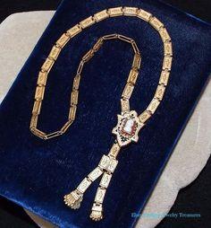 Antique Victorian Rose Gold Book Chain Cameo Pendant Necklace #Antique