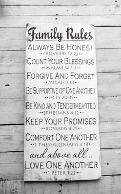 Scripture art family rules sign