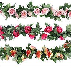 8.2 ft Artificial Flower Garland Roses Flower Rattan String Vine DIY Flower Arch
