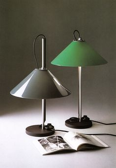 Enzo Mari and Giancarlo Fassina; Plastic, Chromed and Enameled Metal 'Aggregato' Table Lamp for Artemide, 1976.