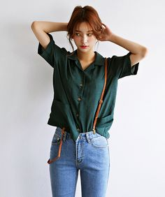 Jeans with leather suspenders