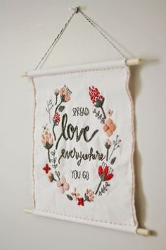 DIY embroidered hanging