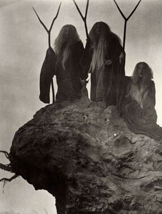 The Three Witches in Macbeth (1948, director Orson Welles) Three fates, wyrd sisters, three crones of glory - Their staffs are called stangs in my tradition...and we use them as the male counterpart to the besom.