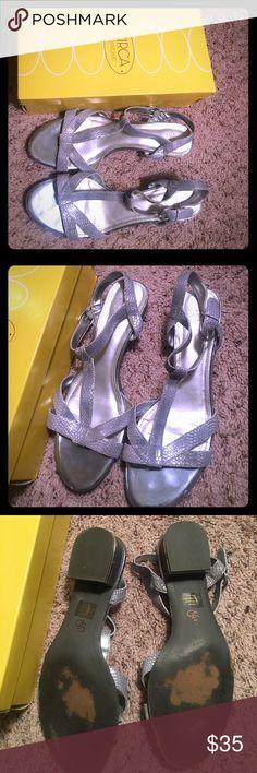 Circa Joan & David Silver Sandals with Heel Has a very low heel Joan & David Shoes