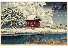 社頭の雪(井の頭弁天) 昭和4年(1929)作