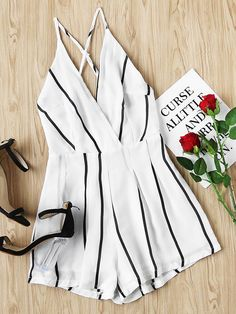 Shop Stripe Criss Cross Open Back Romper online. SheIn offers Stripe Criss Cross Open Back Romper & more to fit your fashionable needs.