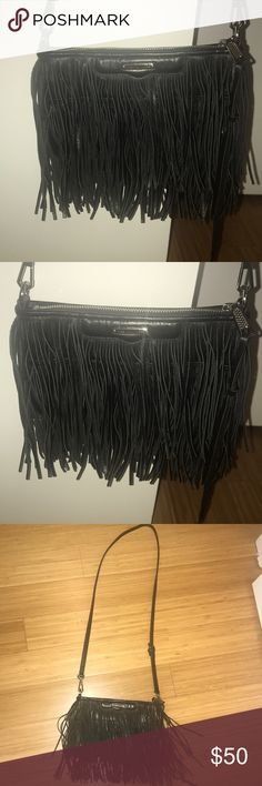Rebecca Minkoff black leather fringe bag! Fringe detail makes this bag so fun and something different than your average black bag. A perfect size and in great condition. Rebecca Minkoff Bags Crossbody Bags