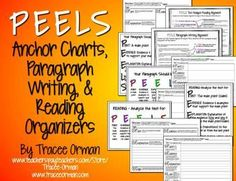"Writing & Reading ""PEELS"" Anchor Charts and Graphic Organizers - Aligned with the Common Core State Standards for writing (arguments, explanatory/informative, expository) AND for reading (text analysis: showing evidence, evaluating claims, analyzing autho"