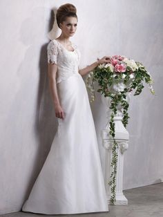 A-line V-neck Satin Wedding Dress #USAHS163